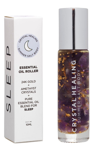 Feel the relaxing crystal vibes with this Sleep Crystal Oil Roller by Summer Salt Body!  Amethyst infused oil with an Amethyst rollerball to promote sleep.