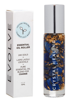 Feel the crystal power of change with the Evolve Crystal Oil Roller with Summer Salt Body!  Lapis Lazuli infused oil with a Lapis Lazuli rollerball to promote transformation, honesty, self-awareness and mysticism.