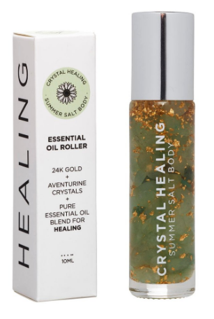 Feel the crystal vibes with this healing Crystal Oil Roller by Summer Salt Body!  Aventurine infused oil with an Aventurine rollerball to promote health and wellbeing.