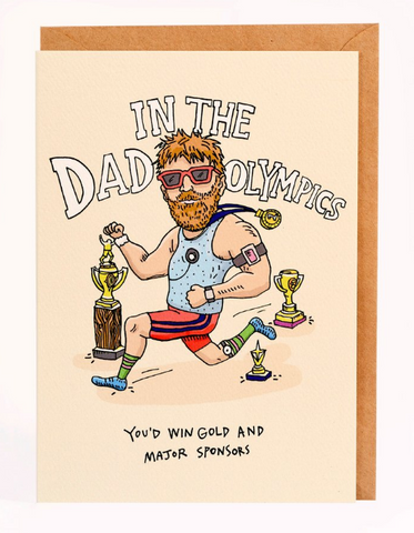We love the Dad Olympics Card by Melbourne Illustrator Beck of Wally Paper Co.   This gorgeous Wally card is A6 (when folded), and blank inside.