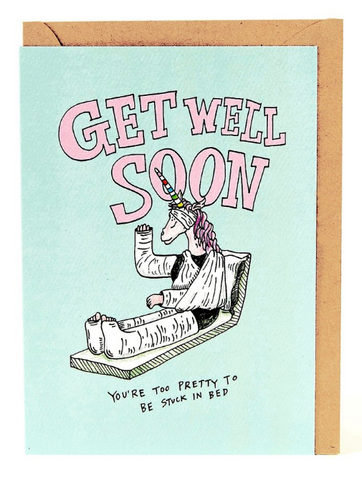 We love the Unicorn Get Well Soon Card by Melbourne Illustrator Beck of Wally Paper Co.   This gorgeous Wally card is A6 (when folded), and blank inside.