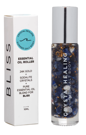 Feel the crystal power of change with the Bliss Crystal Oil Roller by Summer Salt body!  Sodalite infused oil with a Sodalite rollerball to promote calmness, truth, peace and improve communication.