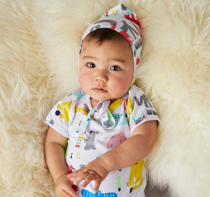 We love the SuperCute Big Band Party Bonnie Hat by Halcyon Nights.  Keep tiny babies heads covered with this soft stretch jersey baby bonnet. Available in sizes 0-3 & 3-6 months.