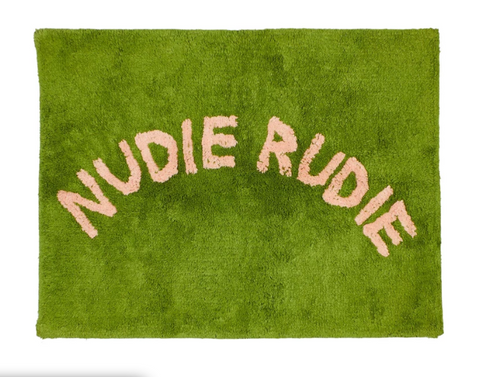 Do you have a Nudie Rudie in your house? Then, you might need this bath mat by Sage x Clare! Cheeky 'Nudie Rudie' text adorns this tufted bath mat, adding a daily dose of fun to your bathroom.