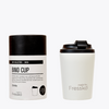 Enjoy your take away coffee, tea or hot chocolate with the snow bino cup made by Fressko.   This 8 oz reusable takeaway coffee cup is spill proof!