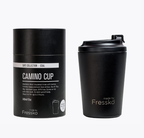 Enjoy your take away coffee, tea or hot chocolate with the Coal Camino Cup made by Fressko.   This 12 oz reusable takeaway coffee cup is spill proof!