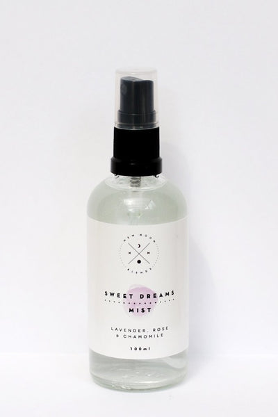 This Sweet Dreams Spray by New Moon Blends!   The soothing effect of lavender, rose & chamomile creates a peaceful sleep and serenity. This blend calms nerves, relaxes the minds and helps with a restful sleep.