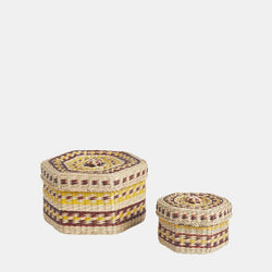 Meet the Trinka Basket Set from Olliella – a charming set of vintage-inspired stackable lidded baskets.