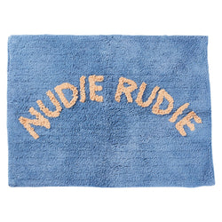 We love the Tula Nudie Bath Mat in Cornflower Blue by Sage + Clare!