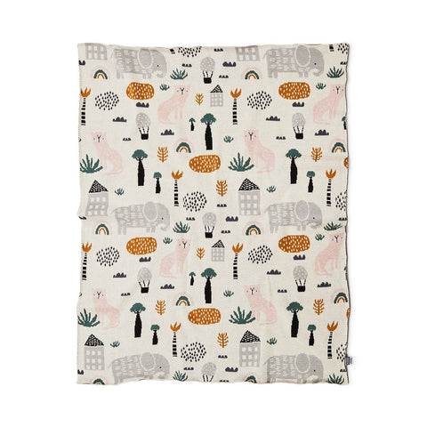 This gender neutral Asher Animals baby blanket from DiLusso Living is crafted from the softest cotton and features adorable animal motifs! Perfect baby shower gift!