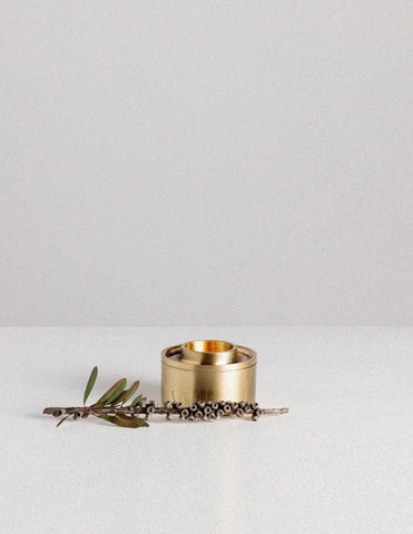 Designed with a minimal aesthetic the Asteroid Oil Burner by Addition Studio is a brass tea light holder which acts as a subtle diffuser of essential oil . This designer oil burner is made from 100% brass & includes essential oil & Australian beeswax candle.
