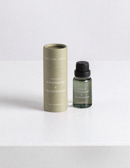 We love the complex woody scent of the Frankincense & Juniperberry Essential Oil by Addition Studio.   Oils have such therapeutic healing properties and can be burned / diffused in a room or just used as a perfume drop on your wrist or behind your ears or used to massage into your body!