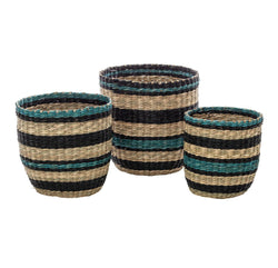 Time to get organised with the Lamia Blue Stripe Baskets from Albi!