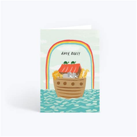 We love the range of cards by Idlewild, including this hand-painted Noah's Ark, sailing through an arching rainbow welcoming the newest member of the family!