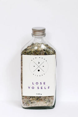 Have some quiet self care time with this Lose Yo Self Bath Salts by New Moon Blends!   Lose your self in this soothing mixture of Himalayan salts, dead sea salts, Epsom salts and lavender buds