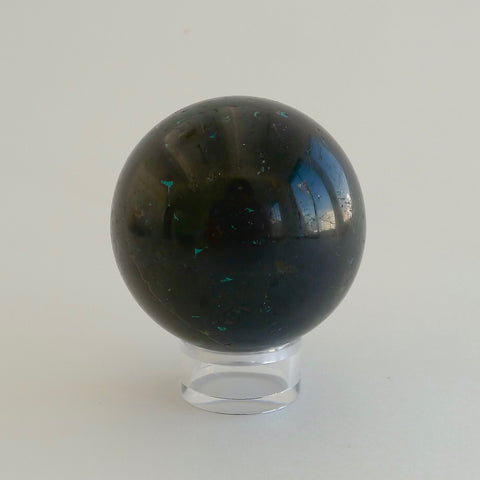 black tourmaline chrysocolla sphere