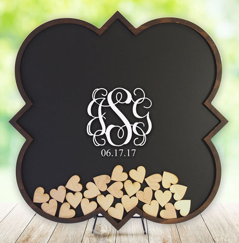 Shadow Box Wedding Guest Book - Drop In Frame - Drop Heart - Drop Box - Quatrefoil