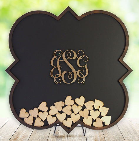 Guest Book Alternative - Quatrefoil with Wood Monogram