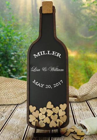 Wine Bottle Guestbook - Dropbox / Drop Heart with Wooden Hearts - Vineyard Wedding