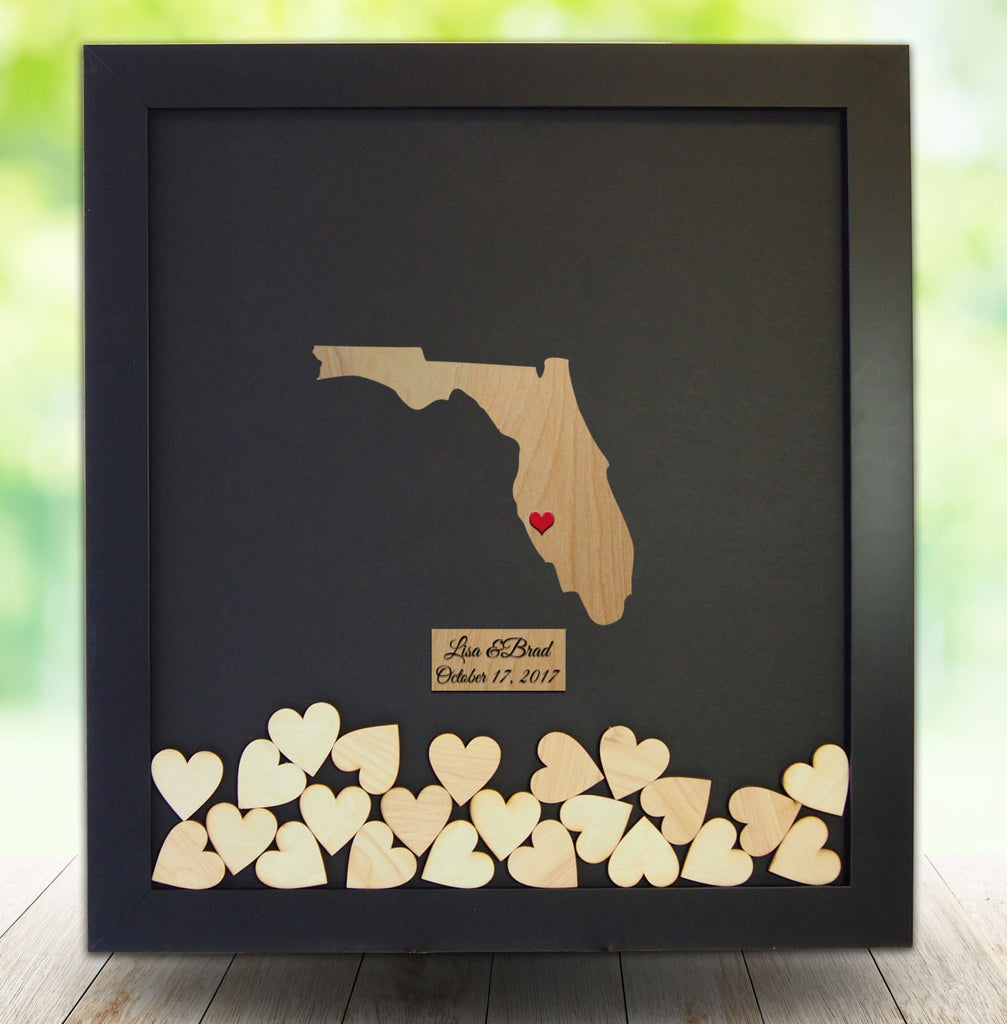 Florida Drop Box Guest Book Frame - Wedding Guest Book Frame – Coosa ...