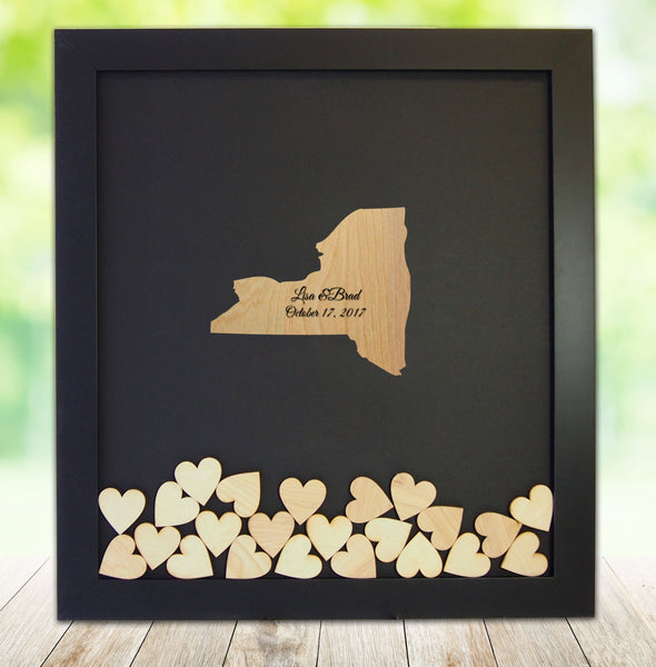 New York State Shaped Drop Heart Guest Book