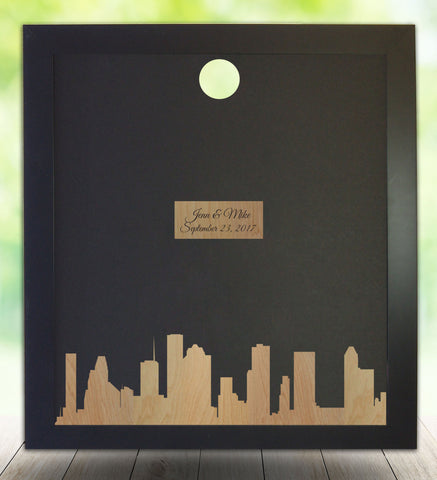 Houston Texas Silhouette Skyline - Guest Book Alternative