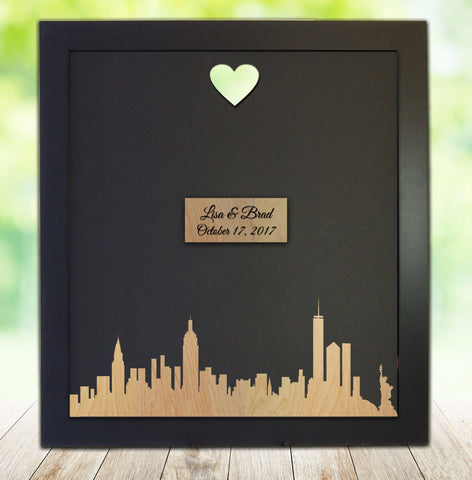 City Silhouette, Custom Wedding Guest Book Framed