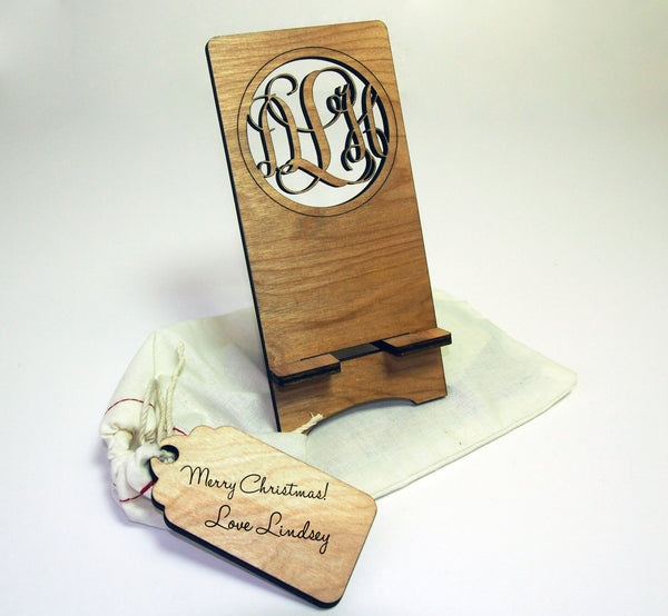 Personalized Monogrammed Wood Phone Stand w. gift bag