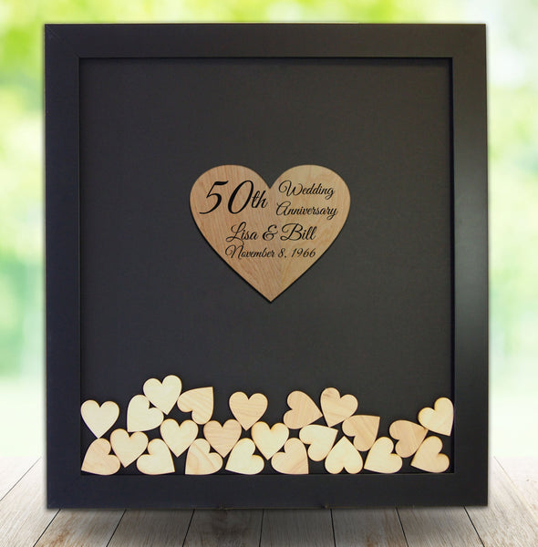 50th Wedding Anniversary Guest Book Frame - Drop Heart