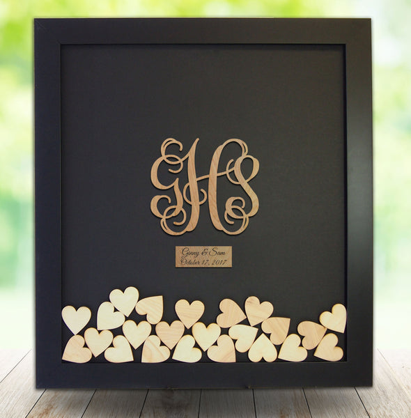 Monogram Drop Box Guest Book Frame - Wedding Guest Book Frame - Vine Monogram