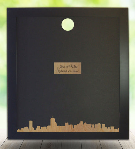 Boston MA Skyline, Guest Book Alternative, Boston Silhouette