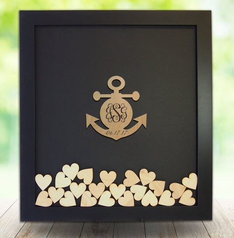 Anchor Drop Box Guest Book Frame - Beach Wedding Guest Book Alternative