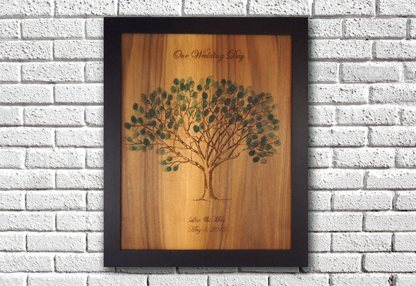 Thumbprint tree guest book, solid wood, custom engraved