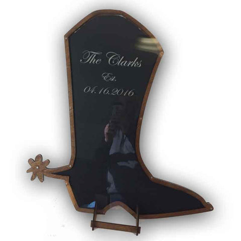 Cowboy Boot Shaped Guest Book Drop Heart