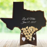 Texas Guest Book Alternative for Wedding – State Shaped Drop Box with Wooden Hearts - Coosa Designs