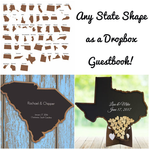 Any State or Country Dropbox Guestbook - Drop Heart -Wedding Guest Book