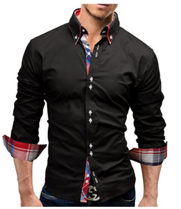 b5ad96048db Male Shirt Long-Sleeves Tops Double collar business shirt Mens Dress Shirts  Slim Men Shirt