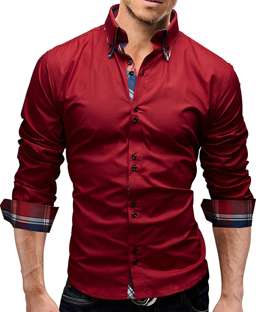 cfa61f75913 ... Male Shirt Long-Sleeves Tops Double collar business shirt Mens Dress  Shirts Slim Men Shirt ...