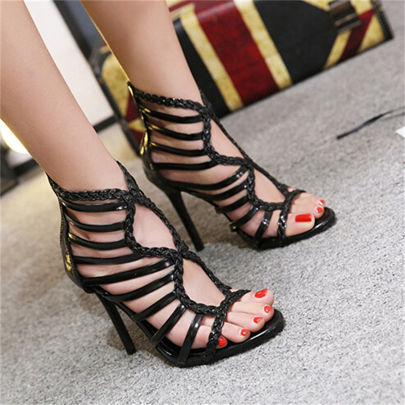 1838c54a886 ... Roman Metal decoration zipper Women Pumps Shoes sexy High heels  Gladiator Woman ...