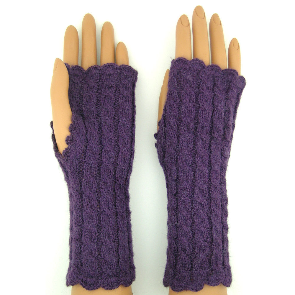 Alpaca Fingerless Gloves - Long Cableknit