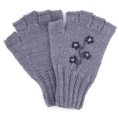 Alpaca Fingerless Gloves - Flower