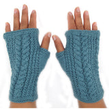 Alpaca Fingerless Gloves - Cableknit
