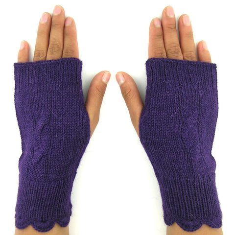 Alpaca Fingerless Gloves - Lightweight Cable