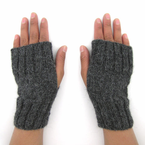 "Alpaca Fingerless Gloves - ""Accordion"""