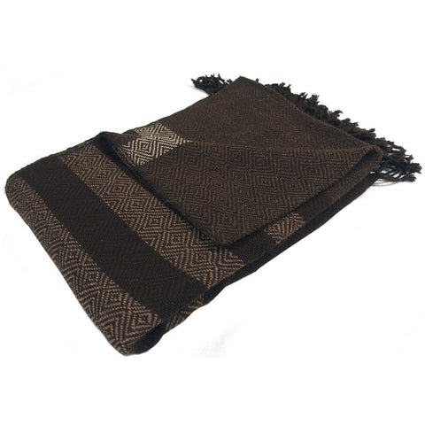 "Alpaca Blanket Throw - ""Banditas"" Brown"