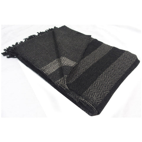 "Alpaca Blanket Throw - ""Banditas"" Charcoal"