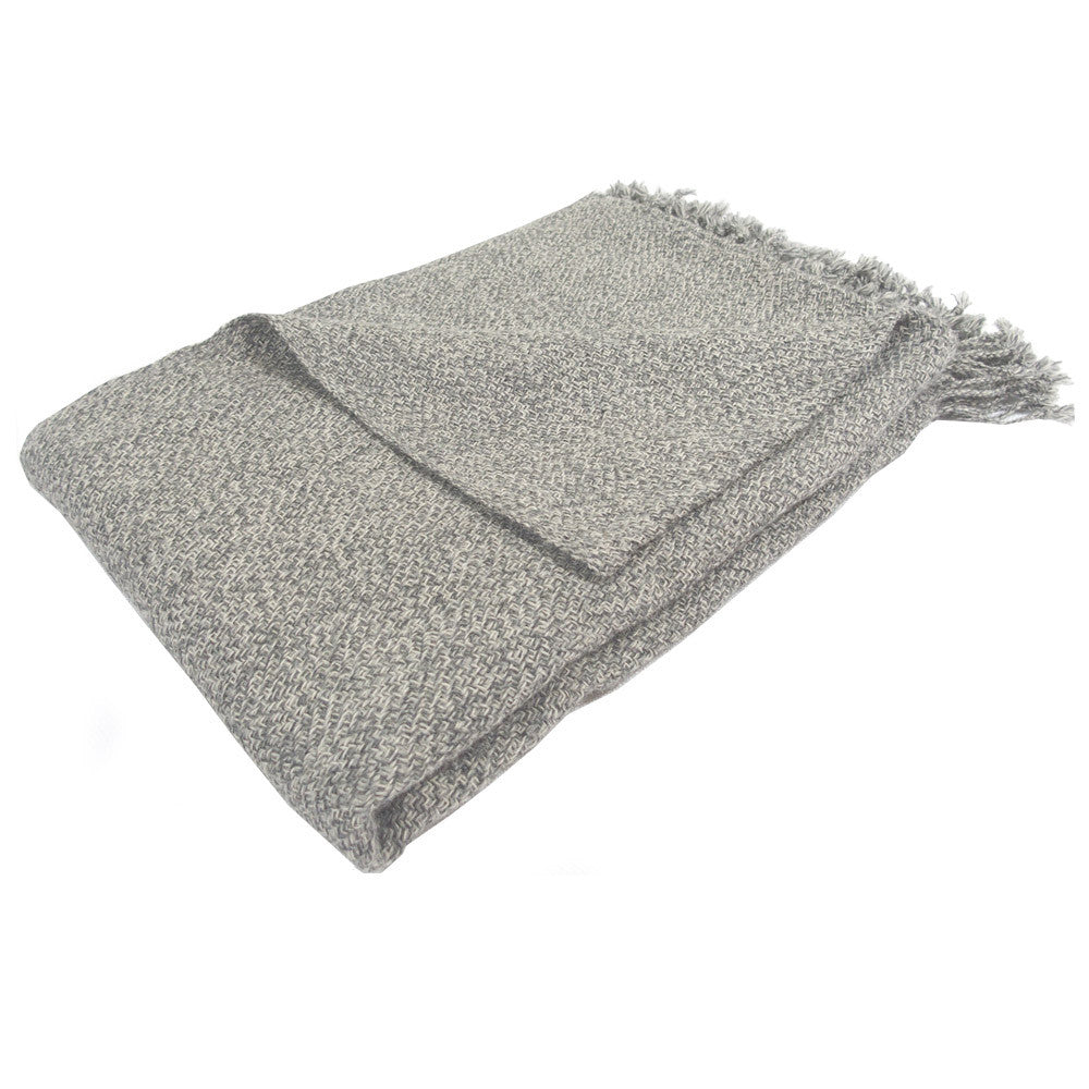 Alpaca Blanket Throw - Grey Melange