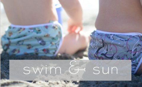 Swim and Sun Category - Swim Diapers, Sun UV Shirts and Hats, organic Sun block bug spray