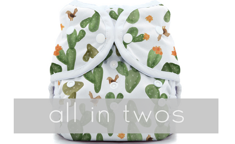 all in two diapers - hybrid diapers, cover, prefolds inserts wraps and more - Thirsties, BumGenius, GroVia Osocozy Snappi - Newborn, Sized, and One Size adjustable cloth diaper Options