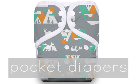Pocket Style Cloth Diapers - waterproof outer and inserts from bumGenius and Thirsties One Size Adjustable Pocket Diapers